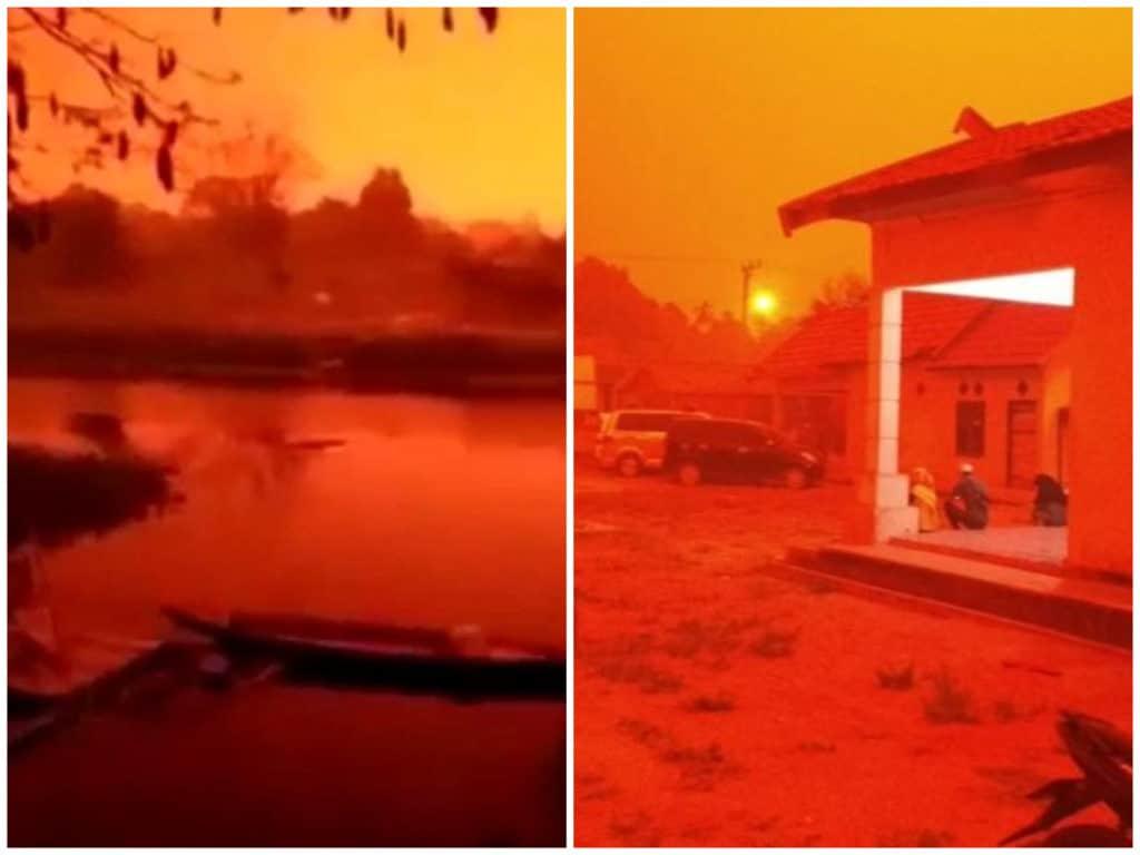 Sorprendentes videos y fotos del cielo del cielo 'color rojo fuego' en Indonesia