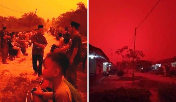 Los incendios forestales tiñen de rojo el cielo en la isla indonesia de Sumatra