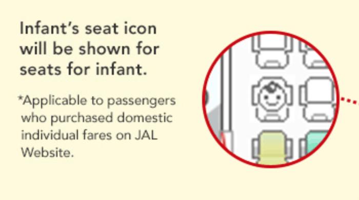 Japan Airlines cuenta con un mapa de asientos que le muestra a los pasajeros dónde habrá bebés en el avión