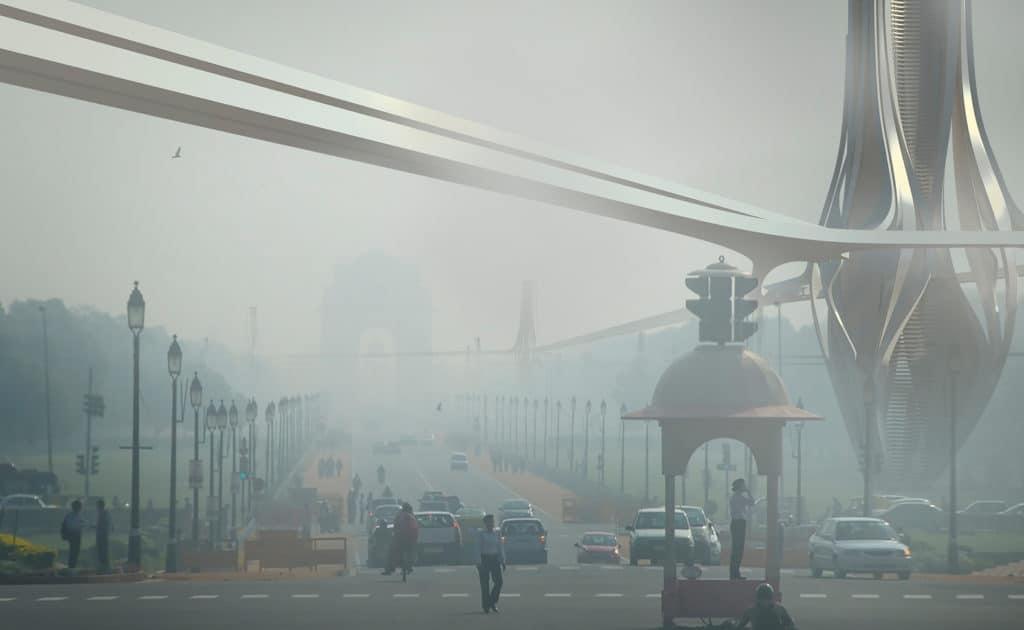 Las enormes torres que pretenden limpiar el smog tóxico de Delhi