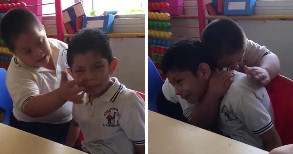 imagen boy down syndrome crying classmate autism video fb4