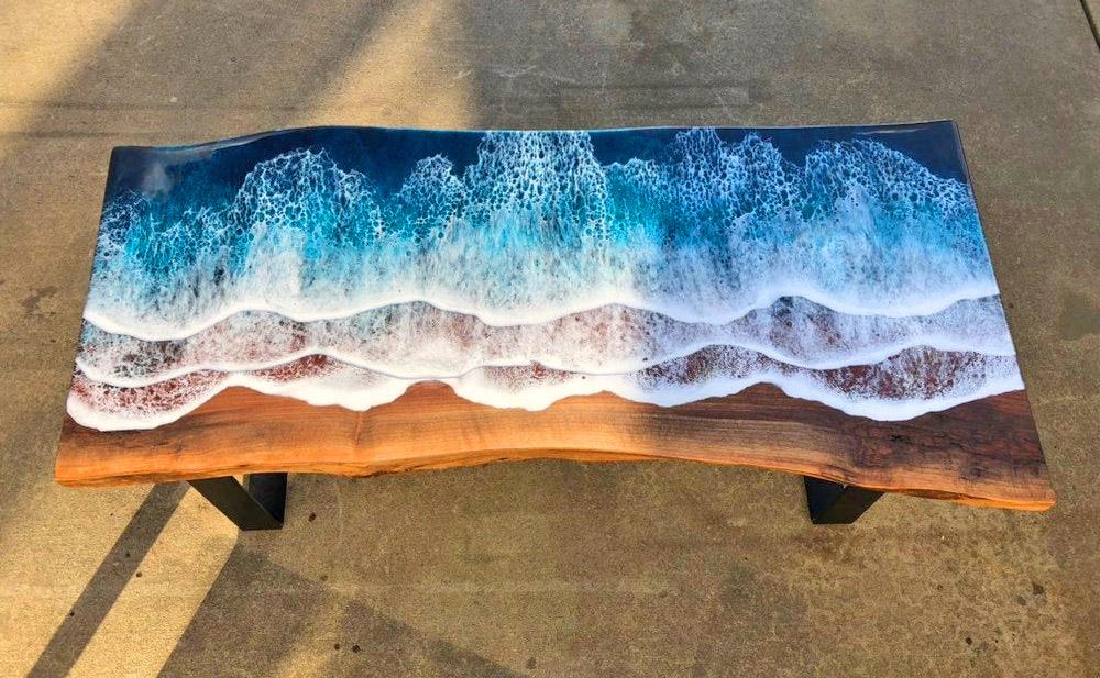 imagen ocean waves resin coffee table 6849
