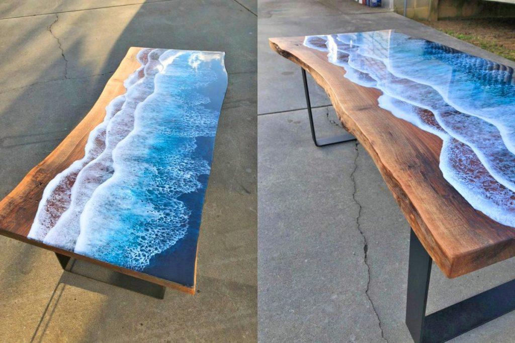 imagen ocean waves resin coffee table 6901