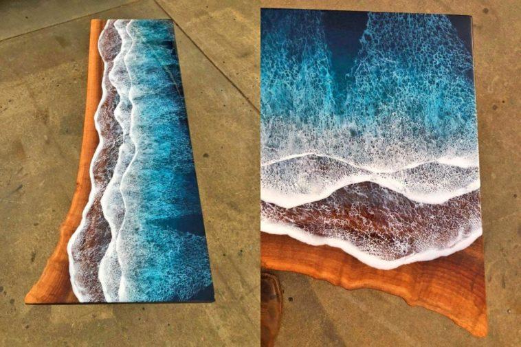 imagen ocean waves resin coffee table 7298