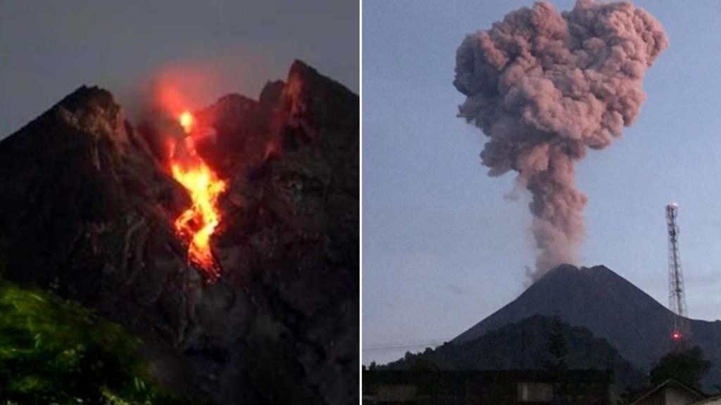 Merapi, uno de los volcanes más activos del mundo, entró en erupción: provocó una columna de cenizas de 2 mil metros