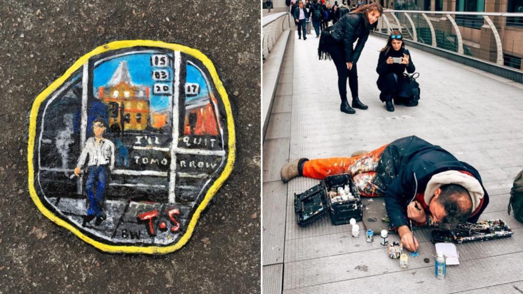 Este artista inglés transforma los chicles pegados en la calle en increíbles obras de arte