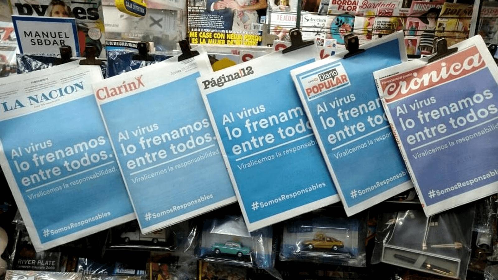 Histórico En Argentina los diarios publicaron una misma portada para concientizar sobre el cuidado ante el avance del coronavirus