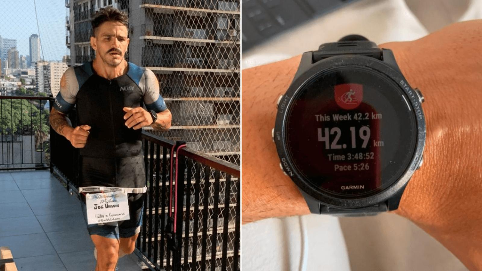 Insólito Un atleta argentino corrió una maratón de 42 km dando 1.600 vueltas en su departamento 1