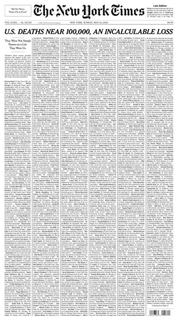 The New York Times lanza portada con los nombres de las casi 100.000 víctimas de Covid-19 en Estados Unidos