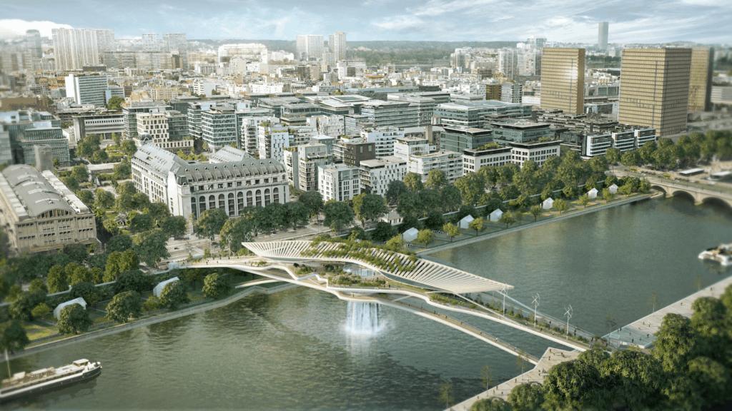 París: Un estudio de arquitectura propone construir un lujoso puente con cascada incluida sobre el río Sena