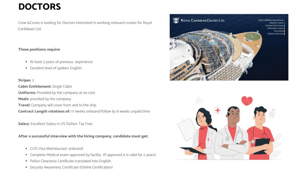 [Empleo] Royal Caribbean busca médicos/as y enfermeros/as de Latinoamérica para sumar a su staff