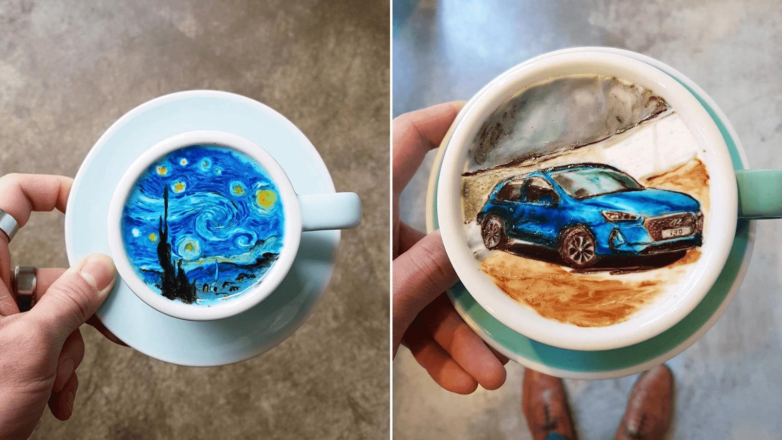 Un barista coreano sorprende a todos con sus increíbles diseños sobre la espuma del café 2