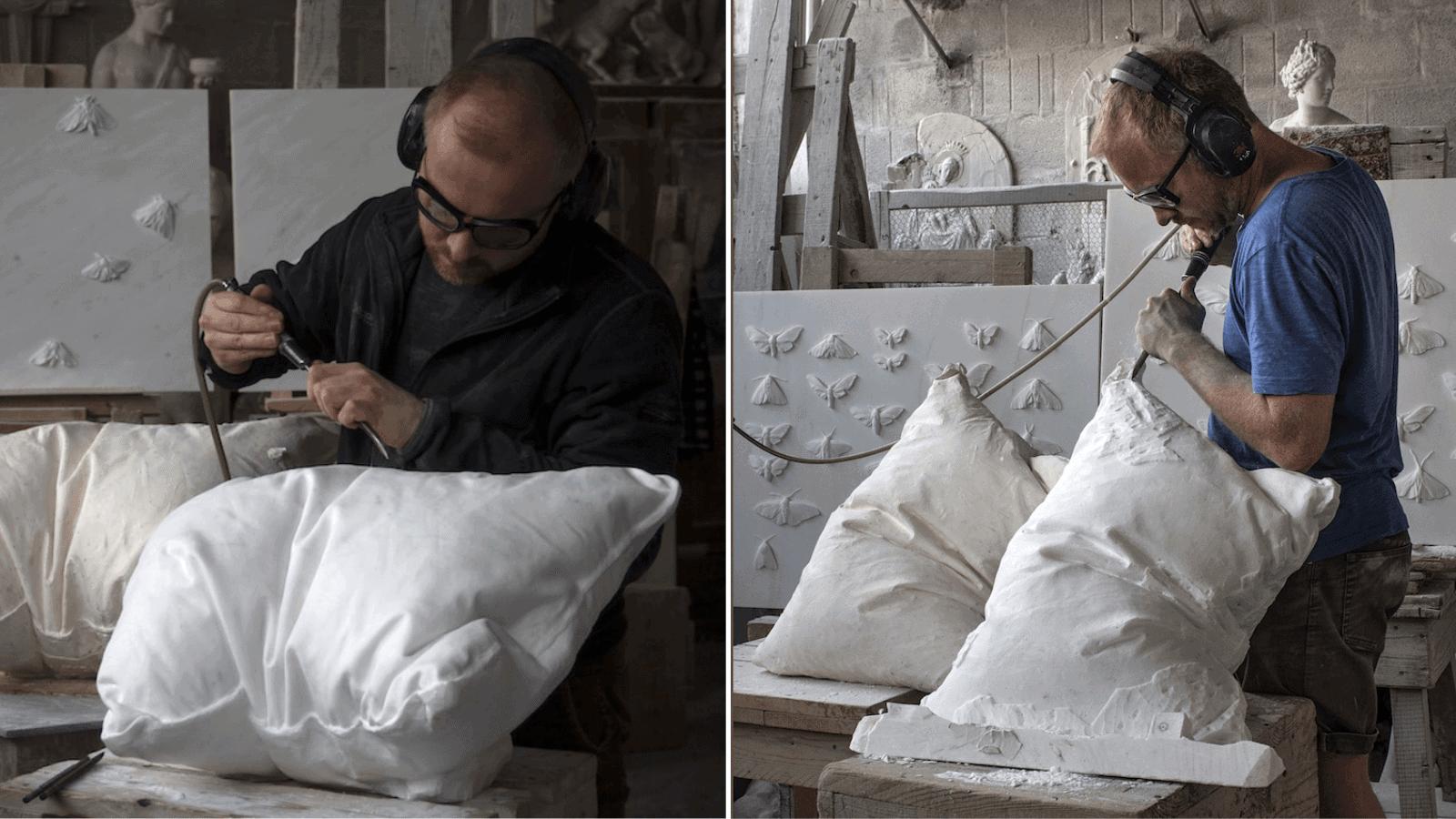 """Este artista noruego esculpe """"esponjosas"""" almohadas con bloques de mármol y es todo un desafío a los sentidos 2"""