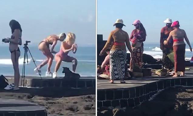 Influencer fue criticada por ejercitar y filmarse cerca de una ceremonia religiosa en Bali