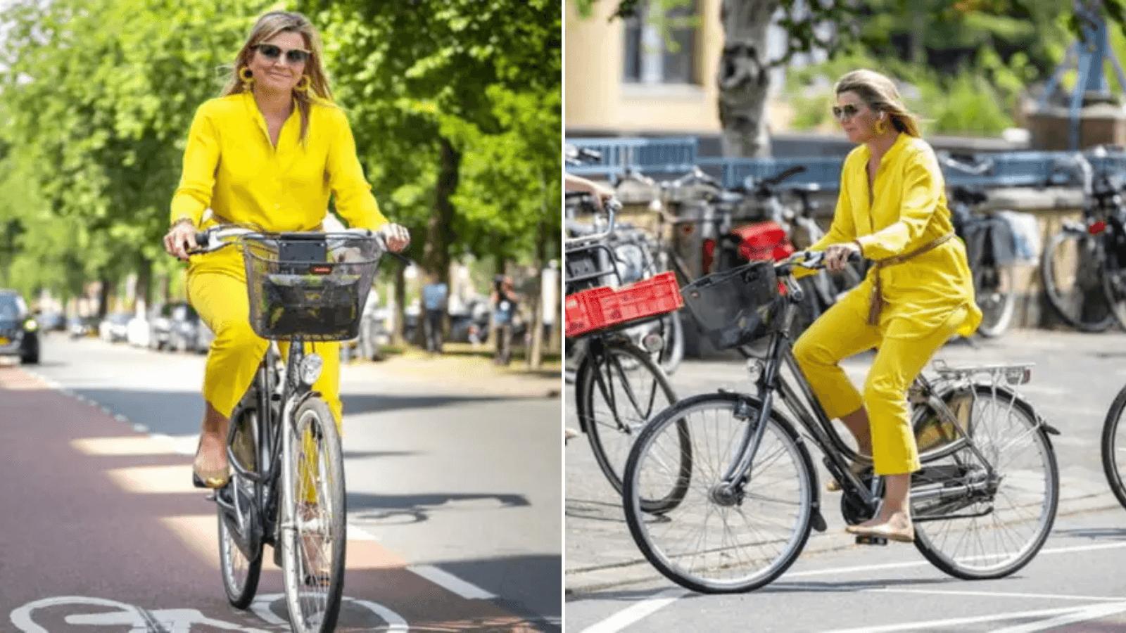 La reina Máxima de Holanda eligió una bicicleta como medio de transporte para asistir a la reapertura de un museo 1