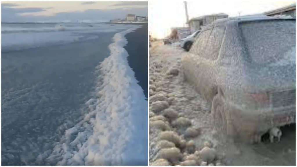 Tierra del Fuego: los autos y las olas amanecieron congelados por un temporal de frío extremo
