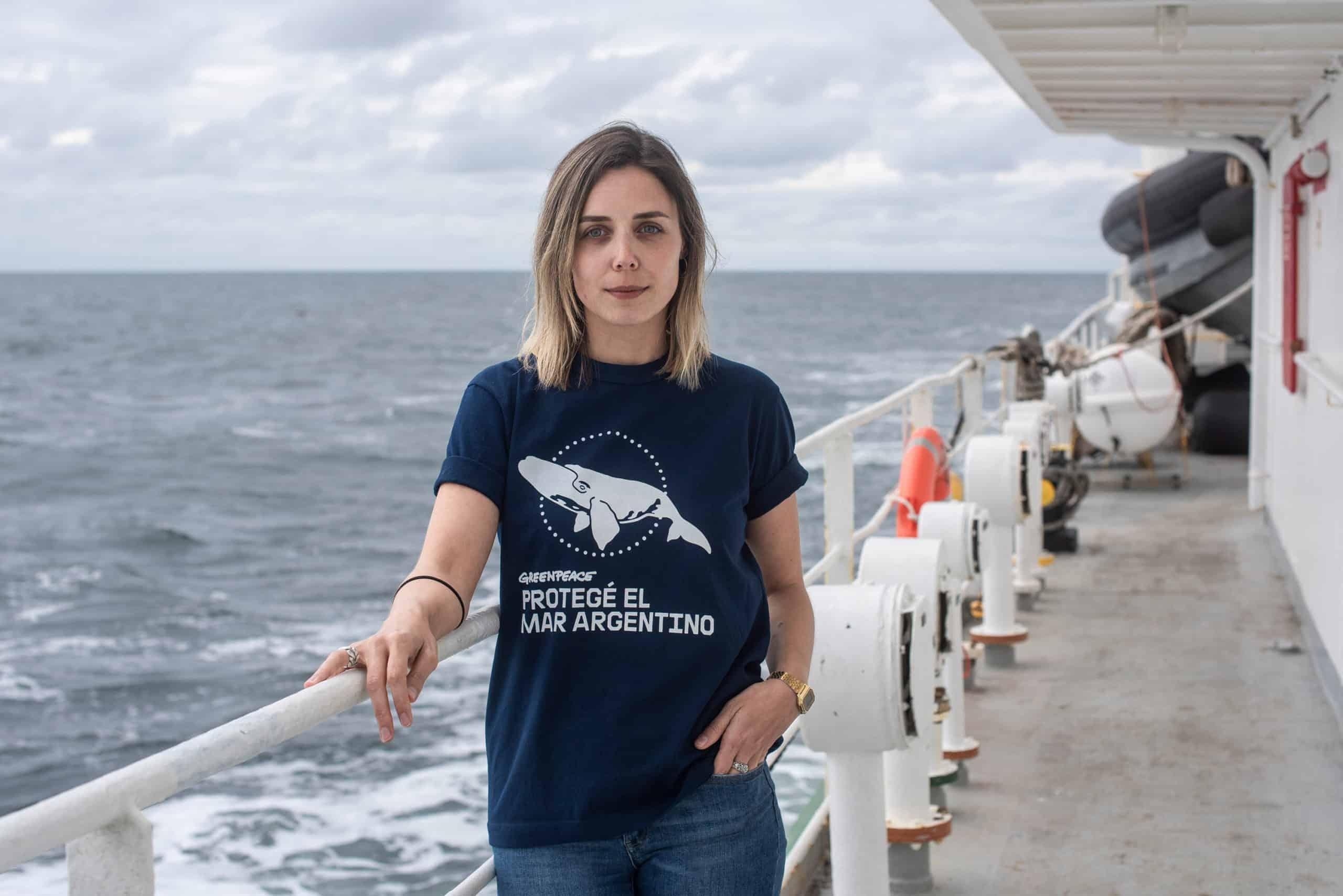 Luisina Vueso, Greenpeace Campaigner stands for a portrait on board of the Esperanza ship on November 10th, 2019. Atlantic Ocean, Argentina.