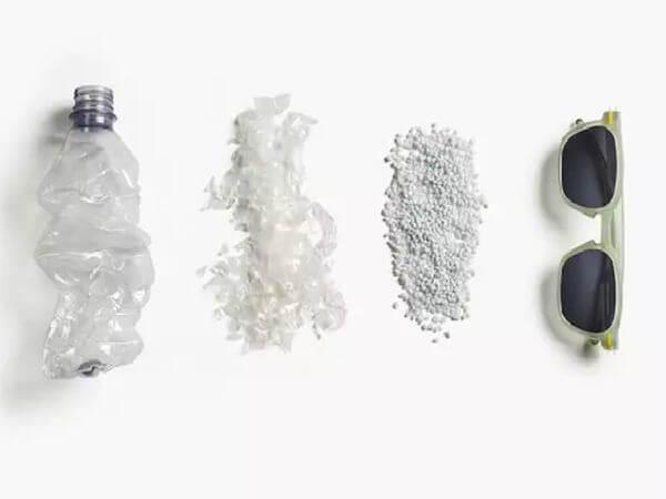 botellas de plástico en lentes de sol