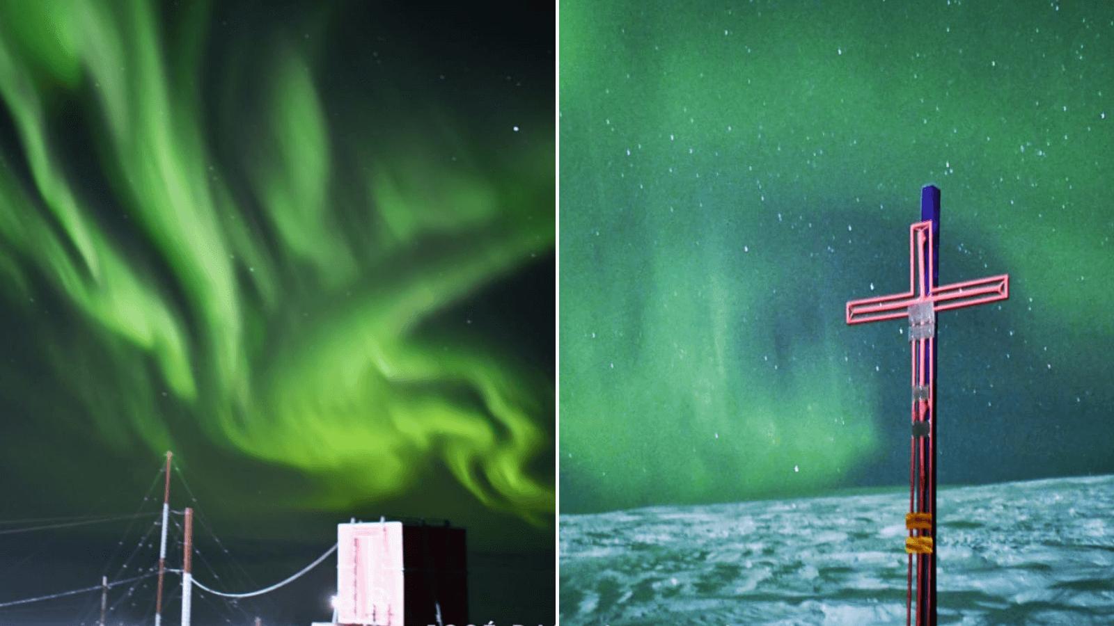 Difunden imágenes impactantes de las auroras astrales en la Base Belgrano de la Antártida Argentina 1
