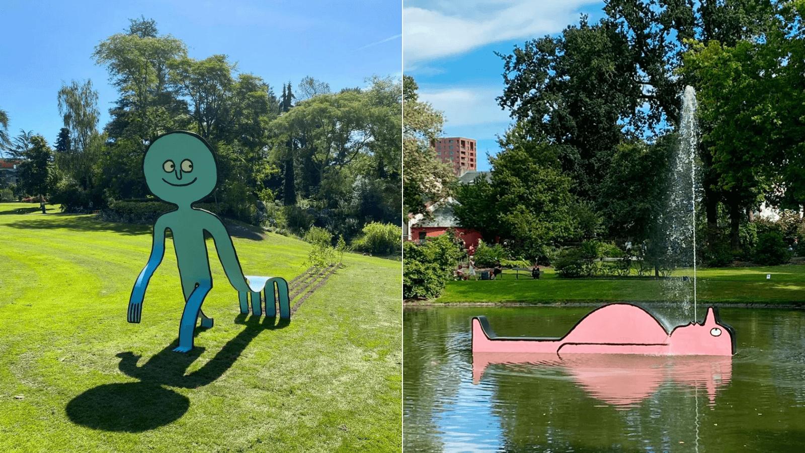 Nuevas y simpáticas esculturas 2D adornan Le Jardin des Plantes en Nantes, Francia 1