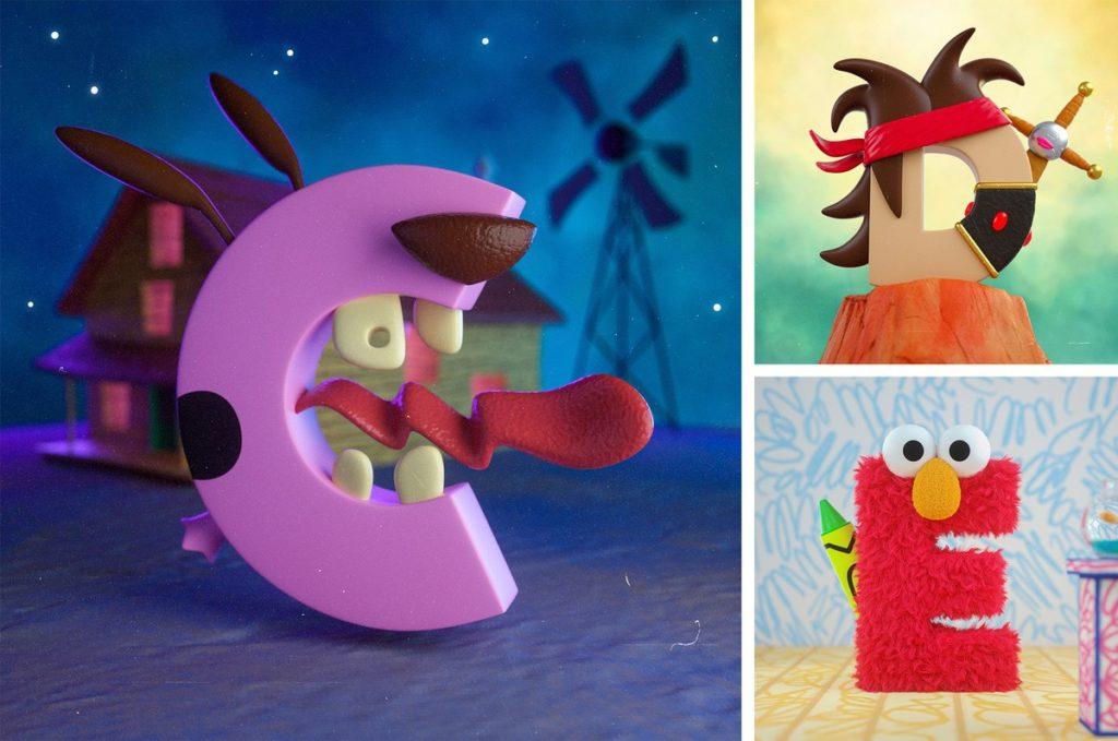 alfabeto inspirado en los dibujos animados
