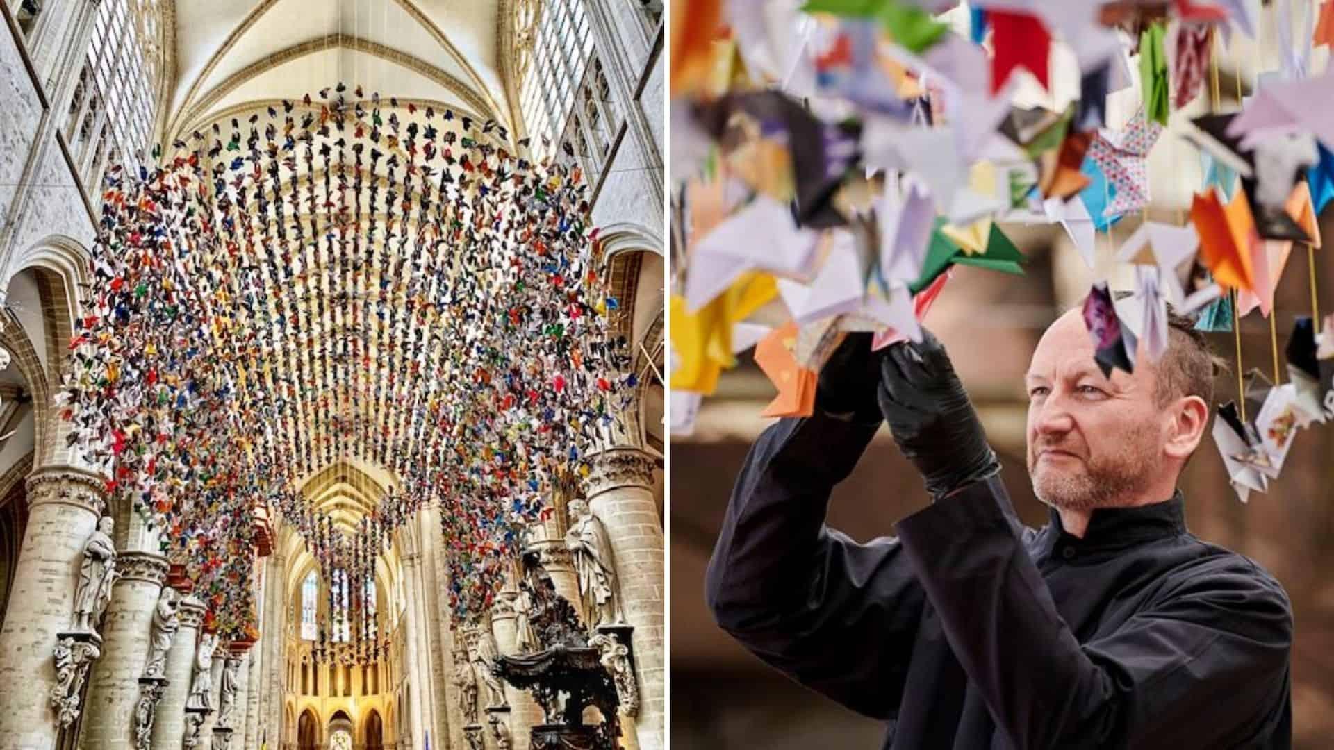 Colocan 20.000 aves de origami en una catedral de Bruselas para ayudar a recaudar fondos para un hospital con pacientes con COVID-19 1