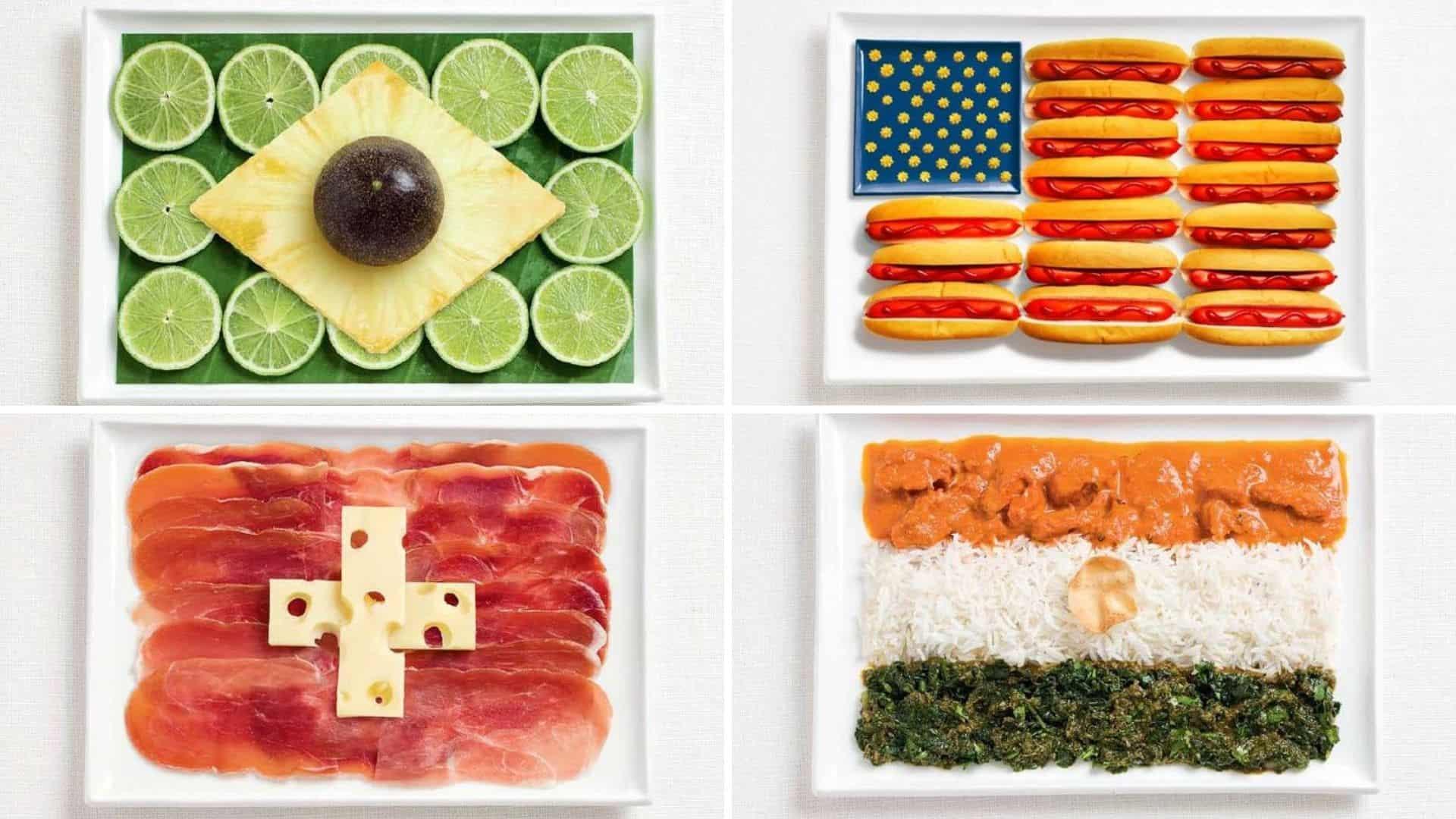 recrean banderas a partir de la gastronomía de cada país