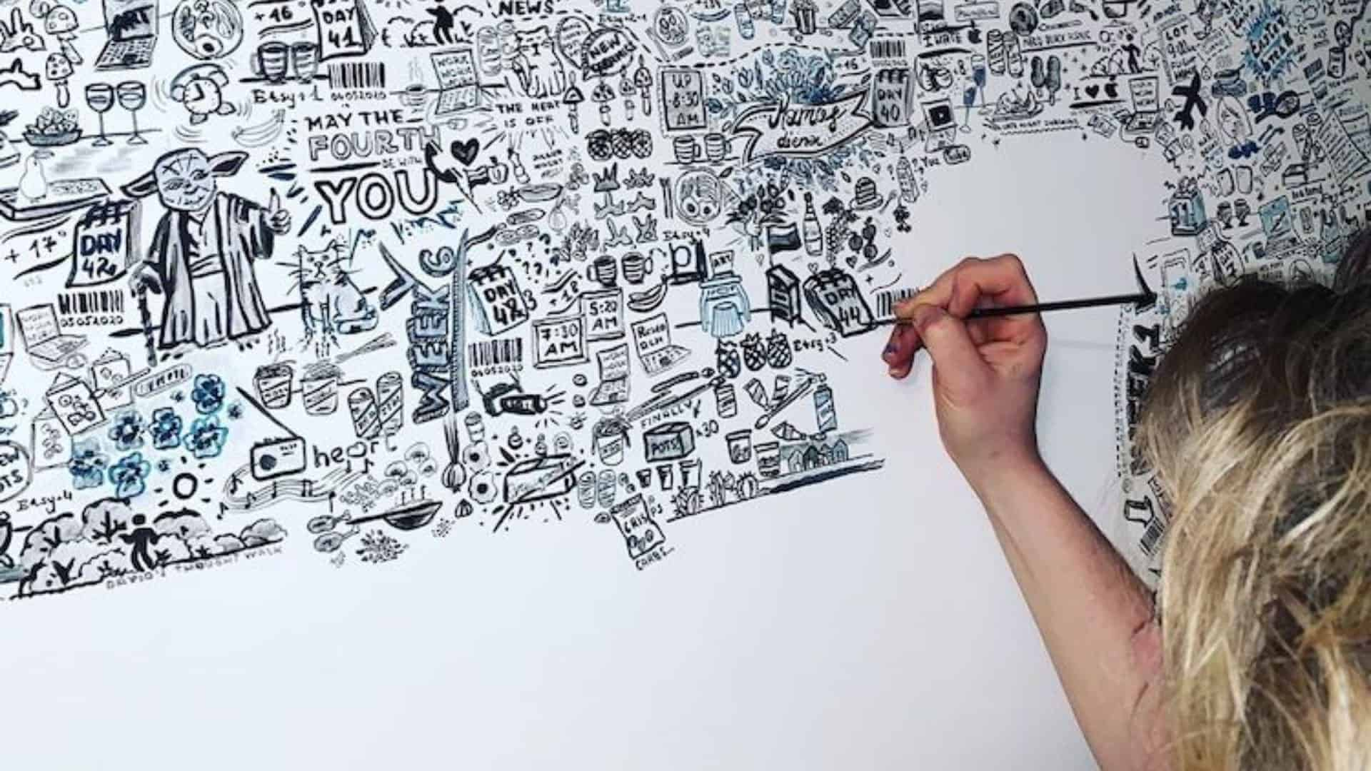 Esta artista pasó 113 días cubriendo una pared en su casa con garabatos sobre la vida durante la cuarentena por COVID-19