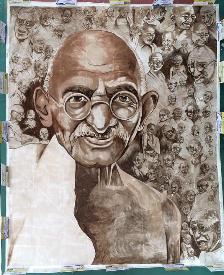 retrato con 74 caras de Mahatma Gandhi