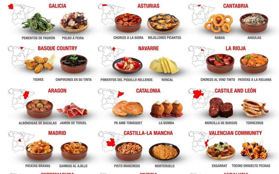 Este mapa muestra cuáles son las tapas españolas más populares según cada comunidad autónoma 2