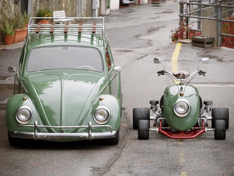 Diseñan un mini kart retro reutilizando el guardabarros de un Volkswagen Beetle original