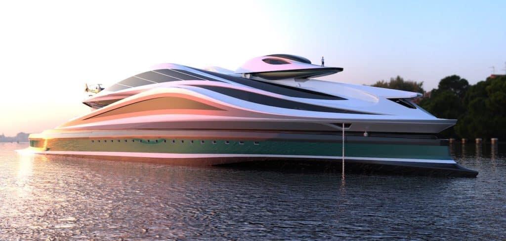 Una firma italiana diseña un fascinante yate de lujo con forma de cisne gigante