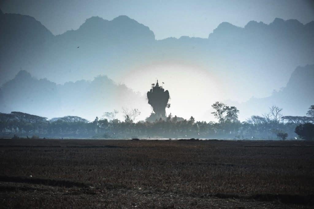 myanmar temple fog