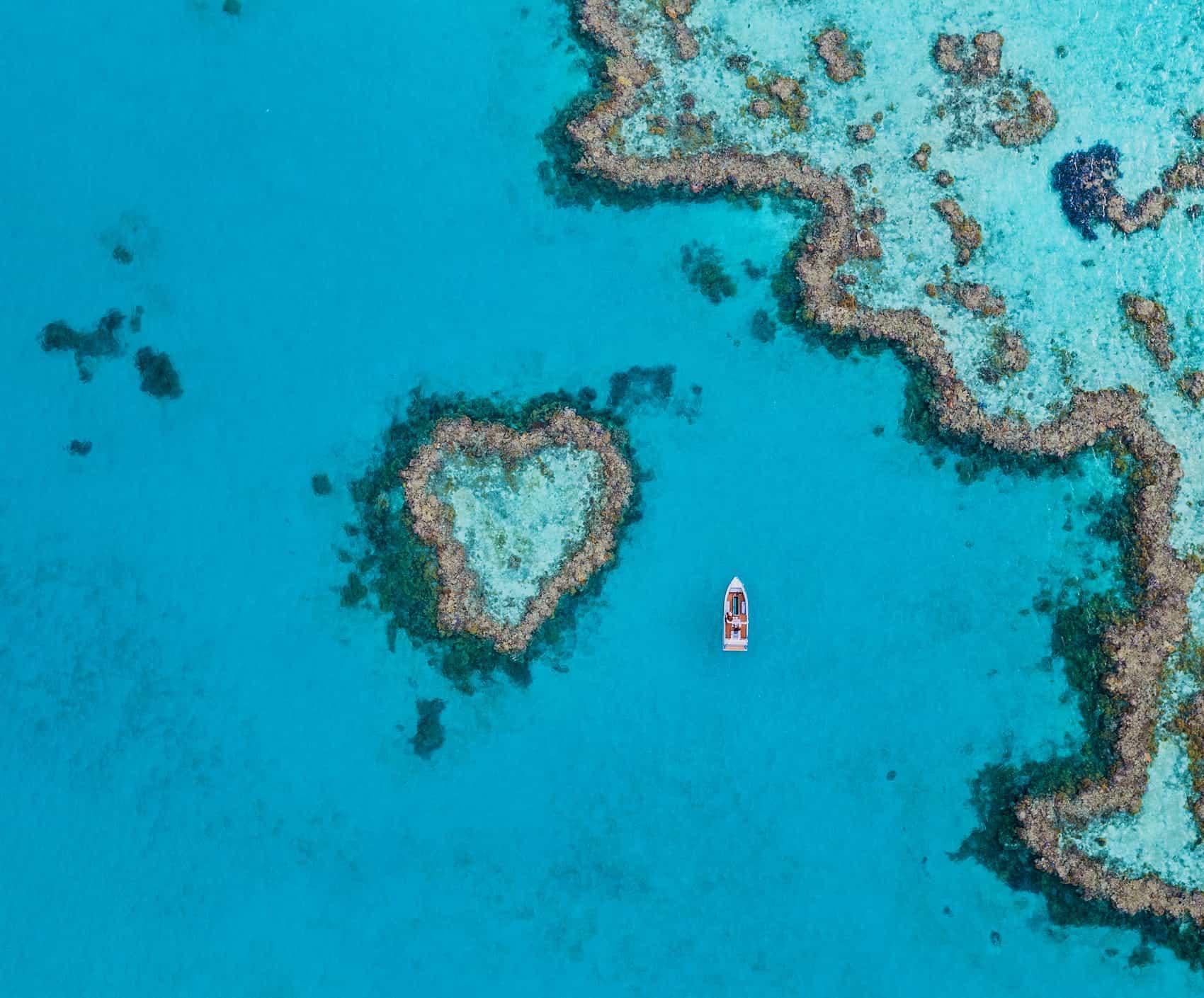 Finalmente se puede visitar este arrecife con forma de corazón en la Gran Barrera de Coral, Australia