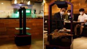 Este restaurante de Seúl, Corea del Sur, tiene un robot que lleva los pedidos de los clientes a la mesa