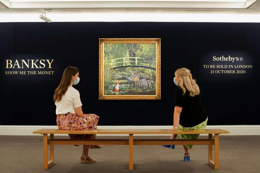Show Me the Monet: el artista Banksy reimaginó una pintura de Monet con conos de tránsito y carros de supermercado