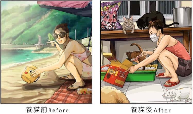 imagen tener una mascota Estas ilustraciones creadas por un artista taiwanes revelan como es la vida antes y despues de tener una mascota 12