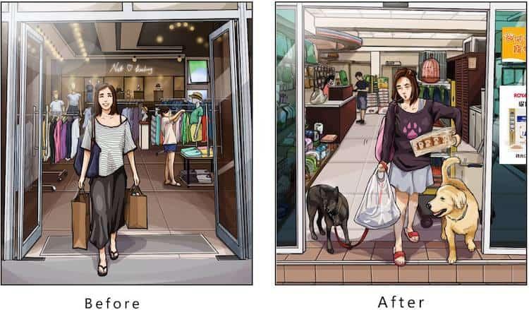 imagen tener una mascota Estas ilustraciones creadas por un artista taiwanes revelan como es la vida antes y despues de tener una mascota 13