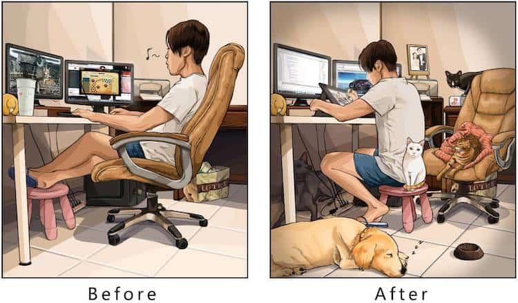 imagen tener una mascota Estas ilustraciones creadas por un artista taiwanes revelan como es la vida antes y despues de tener una mascota 8