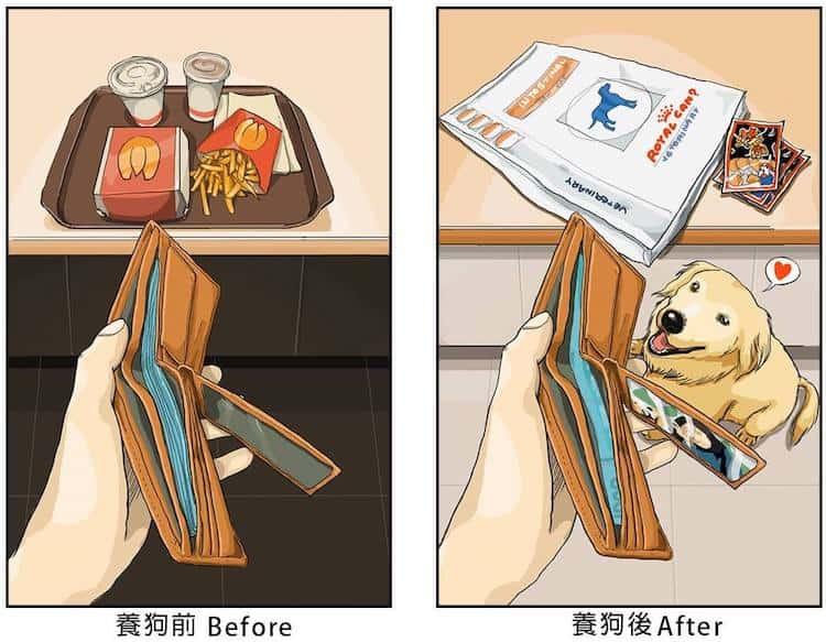 imagen tener una mascota Estas ilustraciones creadas por un artista taiwanes revelan como es la vida antes y despues de tener una mascota 4