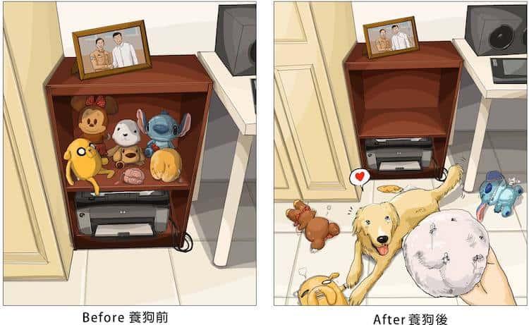 imagen tener una mascota Estas ilustraciones creadas por un artista taiwanes revelan como es la vida antes y despues de tener una mascota 3