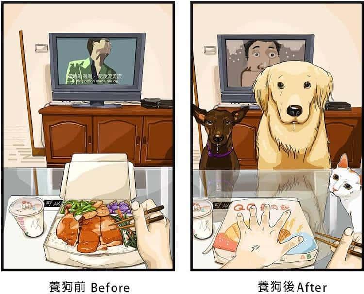 Estas ilustraciones creadas por un artista taiwanés revelan cómo es la vida antes y después de tener una mascota