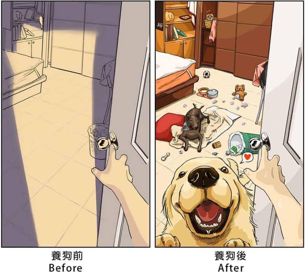 imagen tener una mascota Estas ilustraciones creadas por un artista taiwanes revelan como es la vida antes y despues de tener una mascota 1
