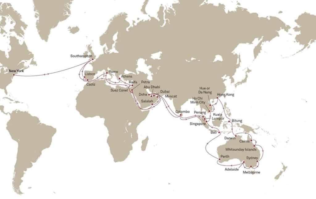Este crucero promete 118 días de vacaciones alrededor de 16 países, 27 puertos de escala y 33 sitios Patrimonio Mundial de la UNESCO