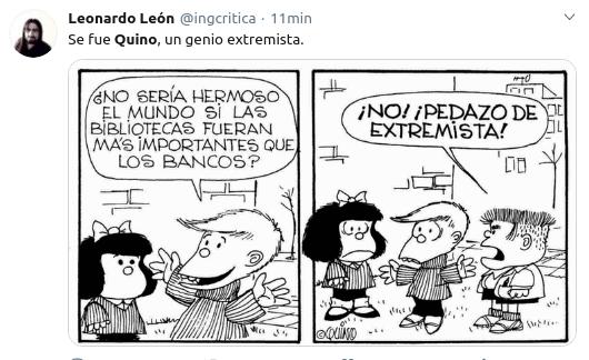 imagen Murió Quino mafalda