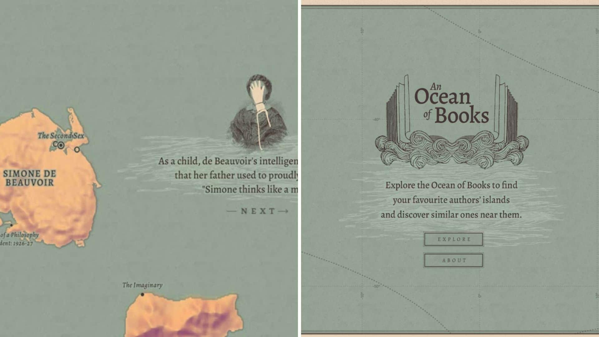 Google creó una experiencia con un mapa ficticio interactivo que permite descubrir libros dentro de un gran océano