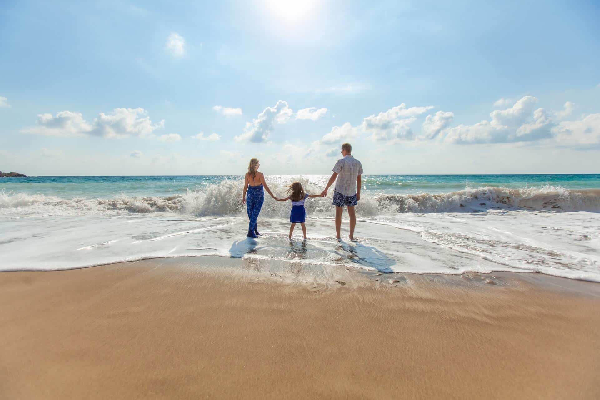 Playa con familia