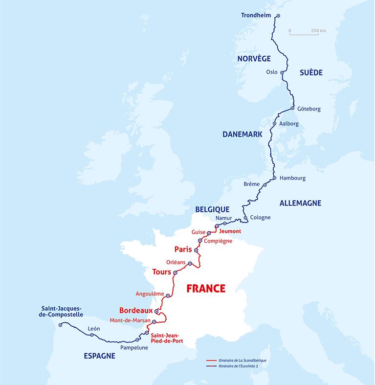 3.086 kilómetros para recorrer 7 países: esta ruta ciclista europea une Trondheim en Noruega con Santiago de Compostela en España