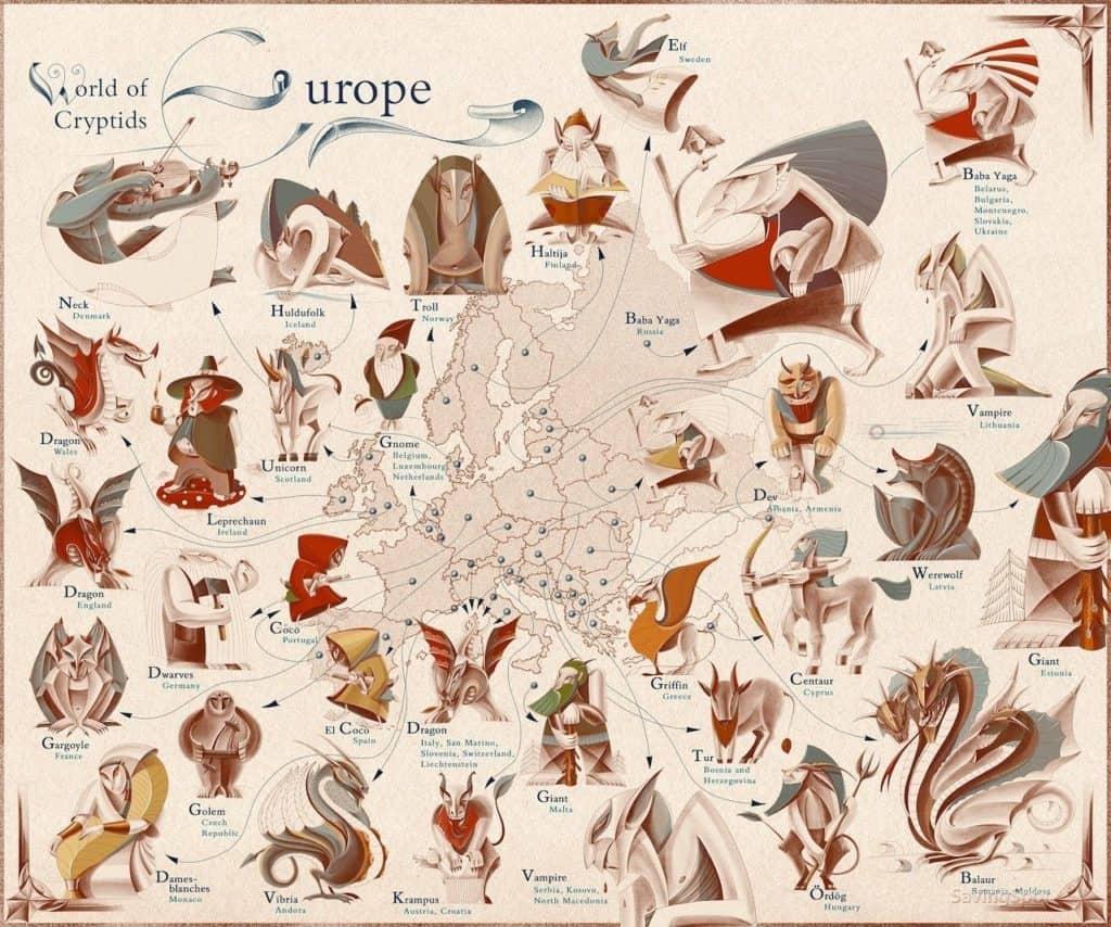 Este mapa muestra cuáles son las criaturas míticas más famosas de los distintos países del mundo
