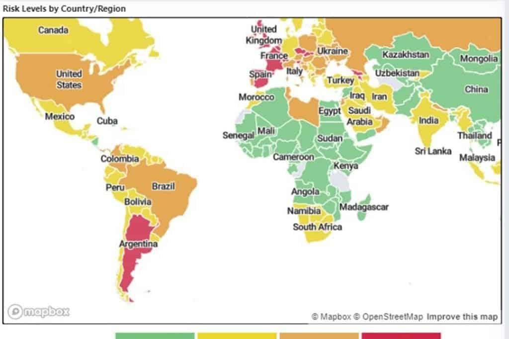 Según mapa de riesgo COVID-19 de Harvard, la Argentina es el único país en rojo del continente
